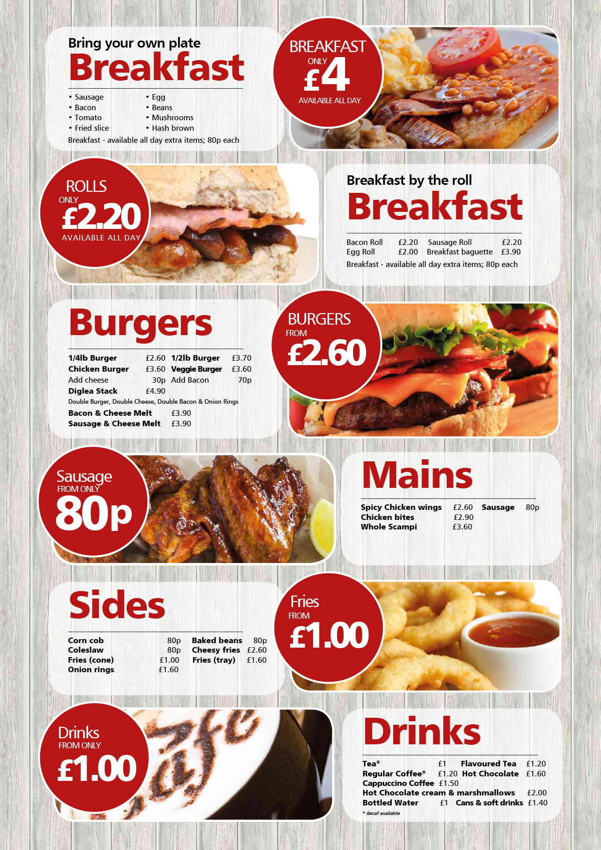 Diglea Holiday Park Menu